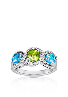 Belk & Co. Sterling Silver Peridot, Blue Topaz and Diamond Ring