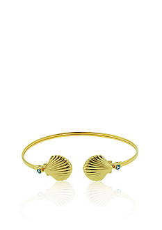 Belk & Co. 14KT Yellow-Gold Blue Topaz Double Clam Shell Flex Bangle