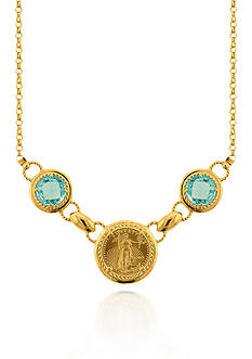 Liberty Legacy Blue Topaz Necklace in 14k Yellow Gold
