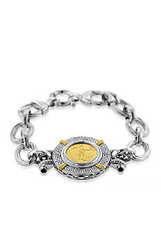 Liberty Legacy Sterling Silver and 14k Yellow Gold 1/10 oz Coin and Sapphire Bracelet