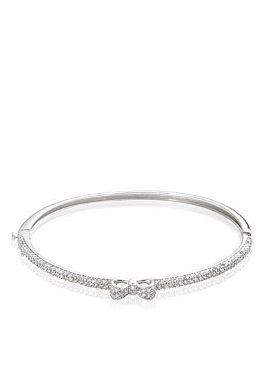 Belk & Co. Platinum Plated Sterling Silver Cubic Zirconia Bow Bangle