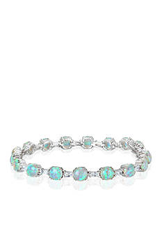 Belk & Co. Platinum Plated Sterling Silver Simulated White Opal and Cubic Zirconia Tennis Bracelet