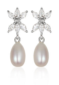 Belk & Co. Platinum Plated Sterling Silver Freshwater Pearl and Cubic Zirconia Earring