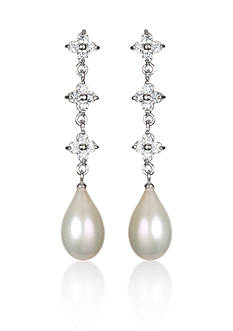 Belk & Co. Platinum-Plated Sterling Silver Freshwater Pearl and Cubic Zirconia Earrings