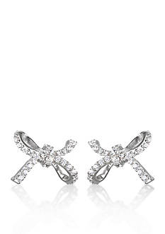 Belk & Co. Platinum Plated Sterling Silver Cubic Zirconia Bow Earrings