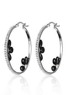 Belk & Co. Platinum-Plated Sterling Silver Black Onyx and Cubic Zirconia Hoop Earrings