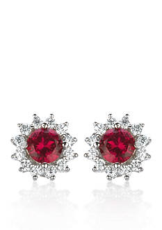 Belk & Co. Platinum Plated Sterling Silver Synthetic Ruby Cubic Zirconia Earrings