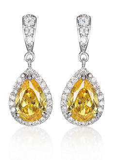 Belk & Co. Platinum-Plated Sterling Silver Simulated Citrine Cubic Zirconia Earrings