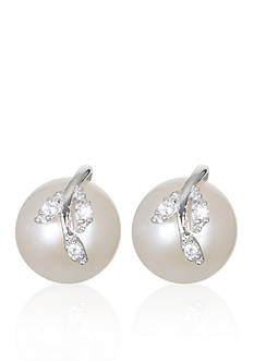 Belk & Co. Platinum-Plated Sterling Silver Freshwater Pearl and Cubic Zirconia Stud Earrings