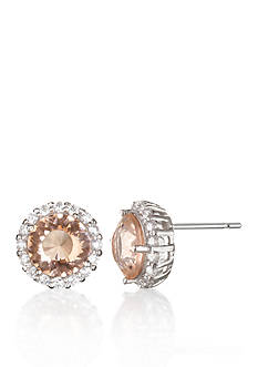 Belk & Co. Platinum Plated Sterling Silver Simulated Morganite Cubic Zirconia Earrings