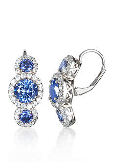 Belk & Co. Platinum-Plated Sterling Silver Simulated Tanzanite and Cubic Zirconia Earrings