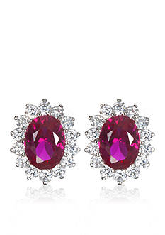 Belk & Co. Platinum Plated Sterling Silver Simulated Ruby Earrings with White Cubic Zirconias