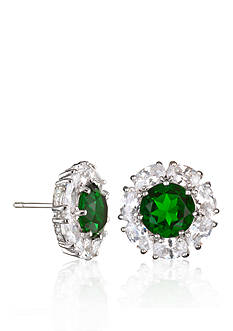 Belk & Co. Platinum-Plated Sterling Silver Simulated Emerald Cubic Zirconia Earrings