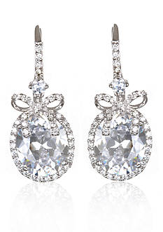 Belk & Co. Platinum-Plated Sterling Silver Cubic Zirconia Bow Earrings