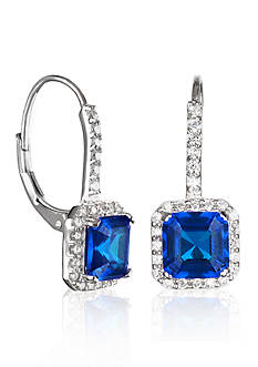 Belk & Co. Platinum Plated Sterling Silver Synthetic Sapphire Cubic Zirconia Earring
