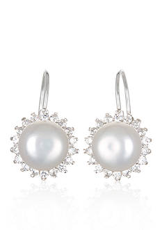 Belk & Co. Platinum Plated Sterling Silver Freshwater Pearl and Cubic Zirconia Earrings