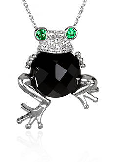 Belk & Co. Platinum-Plated Sterling Silver Black Cubic Zirconia and Simulated Emerald Pendant
