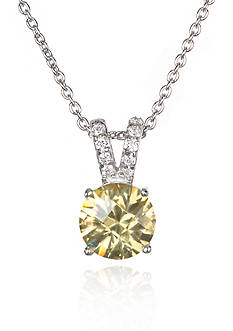 Belk & Co. Platinum Plated Sterling Silver Simulated Citrine Cubic Zirconia Pendant