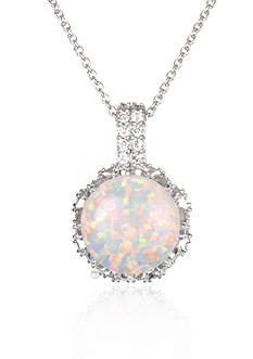 Belk & Co. Platinum Plated Sterling Silve Simulated White Opal Cubic Zirconia Pendant