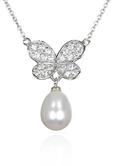 Belk & Co. Platinum Plated Sterling Silver Freshwater Pearl and Cubic Zirconia Butterfly Pendant