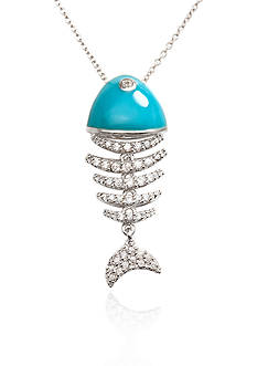 Belk & Co. Platinum Plated Sterling Silver Cubic Zirconia Fish Pendant