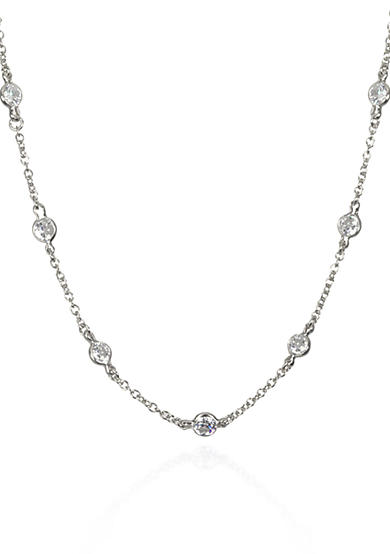 Belk & Co. Platinum Plated Sterling Silver Cubic Zirconia Necklace