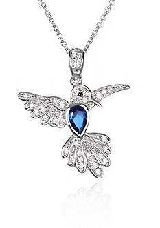Belk & Co. Platinum Plated Sterling Silver Synthetic Sapphire Cubic Zirconia Hummingbird Pendant