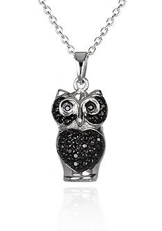 Belk & Co. Platinum-Plated Sterling Silver Black Cubic Zirconia Owl Pendant