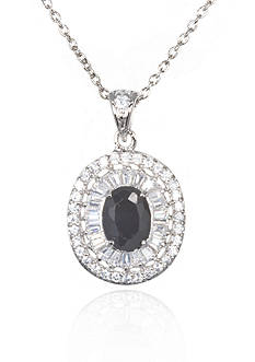 Belk & Co. Platinum-Plated Sterling Silver Black and White Cubic Zirconia Pendant