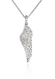 Belk & Co. Platinum Plated Sterling Silver Cubic Zirconia Angel Wing Pendant