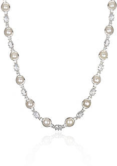 Belk & Co. Platinum-Plated Sterling Silver Freshwater Pearl and Cubic Zirconia Necklace