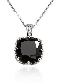Belk & Co. Platinum Plated Sterling Silver Black Cubic Zirconia Pendant