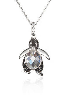 Belk & Co. Platinum-Plated Sterling Silver Black and White Cubic Zirconia Penguin Pendant