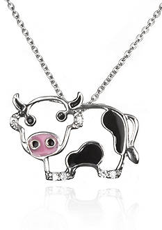 Belk & Co. Platinum Plated Sterling Silver Black and White Cubic Zirconia Cow Pendant