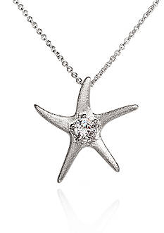 Belk & Co. Platinum-Plated Sterling Silver Cubic Zirconia Starfish Pendant