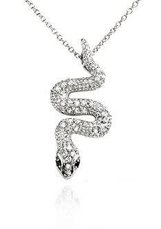 Belk & Co. Platinum-Plated Sterling Silver Cubic Zirconia Snake Pendant