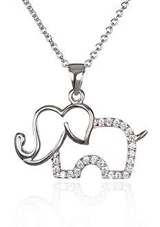 Belk & Co. Platinum Plated Sterling Silver Cubic Zirconia Elephant Pendant