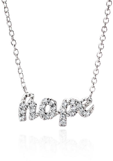 Belk & Co. Platinum Plated Sterling Silver Cubic Zirconia Mini HOPE Necklace