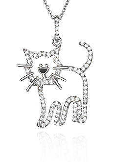 Belk & Co. Platinum-Plated Sterling Silver Cubic Zirconia Cat Pendant