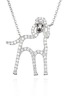 Belk & Co. Platinum-Plated Sterling Silver Cubic Zirconia Dog Necklace