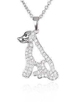 Belk & Co. Platinum-Plated Sterling Silver Cubic Zirconia Dog Pendant