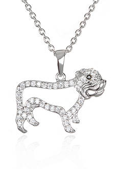Belk & Co. Platinum-Plated Sterling Silver Cubic Zirconia Bulldog Pendant