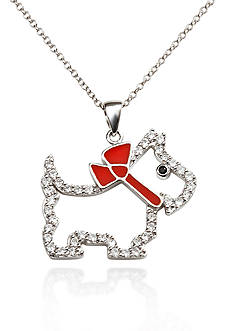 Belk & Co. Platinum Plated Sterling Silver White and Black Cubic Zirconia Scottie Dog Pendant