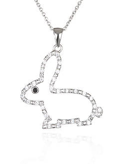 Belk & Co. Platinum-Plated Sterling Silver Cubic Zirconia Rabbit Pendant