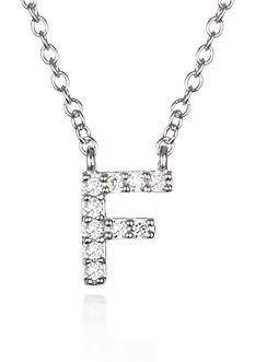 Belk & Co. Platinum Plated Sterling Silver Cubic Zirconia Initial F Necklace