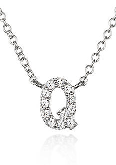 Belk & Co. Platinum Plated Sterling Silver Cubic Zirconia Initial Q Necklace