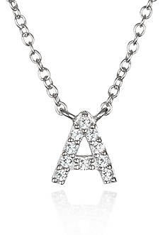 Belk & Co. Platinum Plated Sterling Silver Cubic Zirconia Initial A Necklace