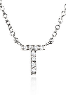 Belk & Co. Platinum Plated Sterling Silver Cubic Zirconia Initial T Necklace