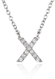 Belk & Co. Platinum Plated Sterling Silver Cubic Zirconia Initial X Necklace