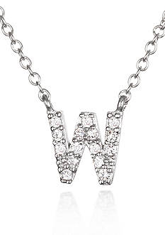 Belk & Co. Platinum Plated Sterling Silver Cubic Zirconia Initial W Necklace